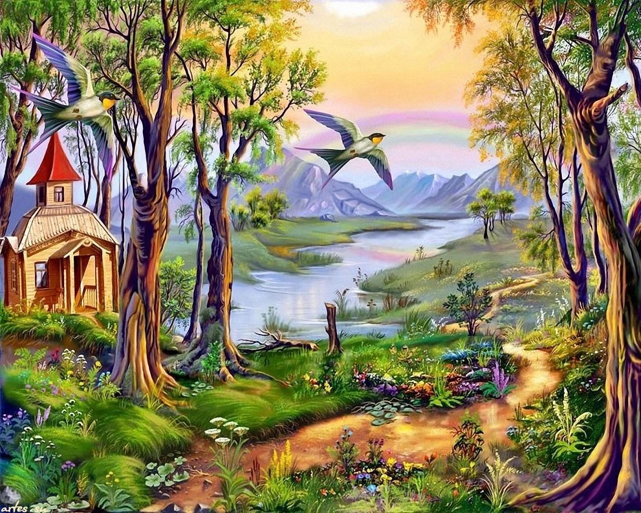 Рисунок на тему лесной пейзаж 2